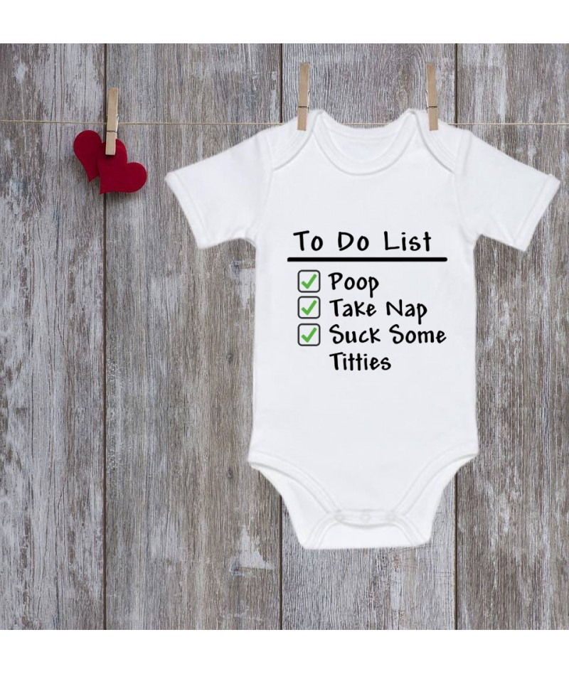 Funny baby onesie. To do list